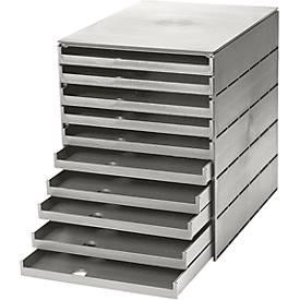 Styro-eco-ladenkastje, 10 laden, open, 20 mm, grijs