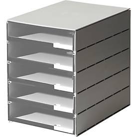 styro® Schubladenbox Styroval, 5 Schübe offen, DIN C4, Polystyrol, grau