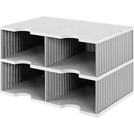 styro® Sortierstation styrodoc Jumbo, DIN C4, 2 Etagen/2-reihig/4 Fächer, grau