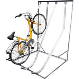 Support à vélos incliné verticalement, galvanisé, montage mural, accès d'un seul côté