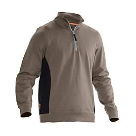 Image of Sweatshirt 1/2 Zip Jobman 5401 PRACTICAL, mit UV-Schutz, khaki I schwarz, M