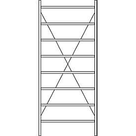 Système de rayonnage à emboîter R 3000, H 2490 mm, 8 tablettes, tablettes galvanisées