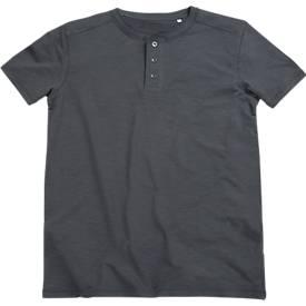 T-Shirt SHAWN Henley, für Herren, 100 % Ringspinn-Baumwolle, mit Knopfleiste, grau, Gr. M
