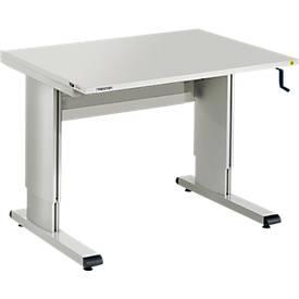 Table de travail série WB, avec manivelle, réglable en hauteur, 3 largeurs