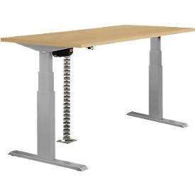 Tafel, 2-traps elektrisch in hoogte verstelbaar, b 1600 mm, beukendecor/aluminiumzilver