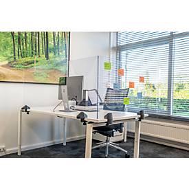 Tafelscheidingswand, gemaakt van acrylglas/polystyreen, helder transparant, dikte 5 mm, B 1600 x H 580 mm, geschikt voor in hoogte verstelbare bureautafels
