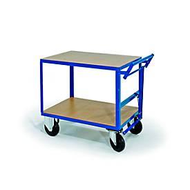 Tafelwagen, 2 legplanken, dodemansklep, draagvermogen 500 kg, 1000 x 700 mm, draagvermogen 500 kg, 1000 x 700 mm