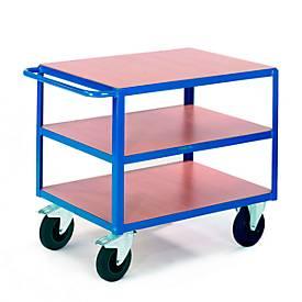 Tafelwagen, 3 legplanken, 1200 x 800 mm, draagvermogen 500 kg, voor productie en werkplaats