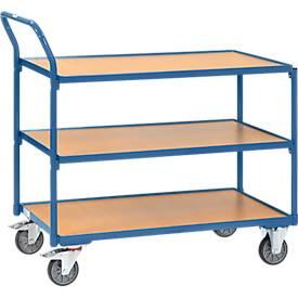 Tafelwagen, 3 niveaus, staal/hout, blauw beuken, B 850 x D 500 mm, tot 300 kg, TPE banden, TPE banden