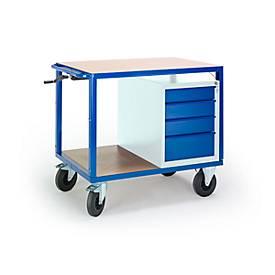 Tafelwagen, in hoogte verstelbaar, 1090 x 700 mm, met ladekast, belastbaar tot 400 kg.