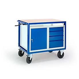 Tafelwagen in hoogte verstelbaar, 1090 x 700 mm, met staal en ladekast, draagvermogen 400 kg.