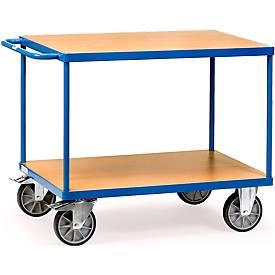 Tafelwagen, staal/hout, 2 legplanken, L 1000 x B 600 mm, tot 600 kg, glanzend blauw/beukend afgewerkt.