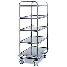 Tafelwagen voor laboratorium en productie, 5 niveaus, 1000 x 600 mm, 5 niveaus, 1000 x 600 mm
