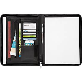 Tagungsmappe Accento, DIN A4, Kunstleder, mit Reißverschluss, inkl. Schreibblock