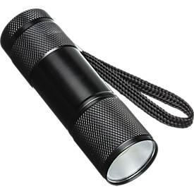 Taschenlampe Forli, schwarz, aus Aluminium, mit besonders hellem Licht