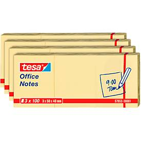 TESA Haftnotizen Office Notes, 50 mm x 40 mm, 4 x 3 x 100 Blatt, gelb