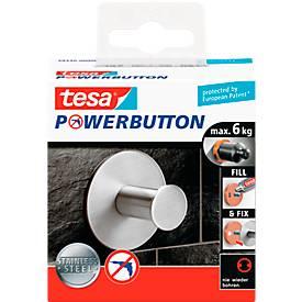tesa Powerbutton Haken Classic, Edelstahl, rund oder eckig, belastbar bis 6 kg
