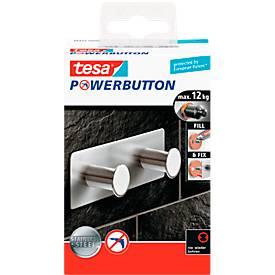 tesa Powerbutton Hakenleiste Classic, Edelstahl, 2 oder 3 Haken, hält bis max. 12 kg, 2 Haken