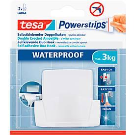 tesa Powerstrips Duohaken Wave, für Feuchträume, für Gegenstände bis 3 kg, 1 Stück