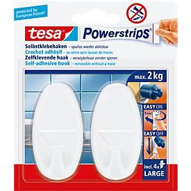 tesa Powerstrips Haken Large, oval oder eckig, hält Gegenstände bis 2 kg, 2er-Set