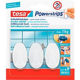 tesa Powerstrips Haken Small, oval oder eckig, hält Gegenstände bis 1 kg, 3 Stück