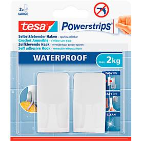 tesa Powerstrips Haken Wave, für Feuchträume, hält Gegenstände bis 2 kg, 2er-Set