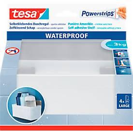 tesa Powerstrips Korb-Regal Zoom, mit Edelstahlleiste, belastbar bis max. 3 kg