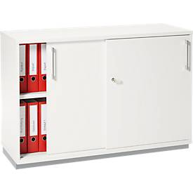 Tetris Wood Schiebetürenschrank, weiß, B 1200 mm, inkl. Stahlsockel