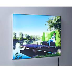 Textielspanframe TEXFRAME, aluminiumprofiel 85 mm zilver geanodiseerd, LED, incl. digitale textielprint, 844 x 1192 mm.