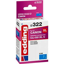 Tintenpatrone edding kompatibel für Canon CLI-551XL C, cyan, 700 Seiten