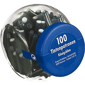 Tintenpatronen im Glas, königsblau, 100 Stück