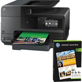 Tintenstrahl-Multifunktionsdrucker HP Officejet Pro 8620 + Value Pack, GRATIS