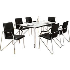 Tisch, 1600 x 800 mm + 6 Besucherstühle Samba SET