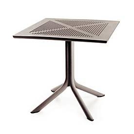 Tisch Ohio, robuste Tischplatte mit Lochmuster, B800xT800xH750 mm, taupe