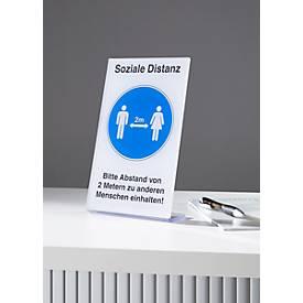 Tischaufsteller Soziale Distanz, rechteckig, L-Form, Foliendruck weiß-blau-schwarz, B 135 x H 240 mm, Kunststoff
