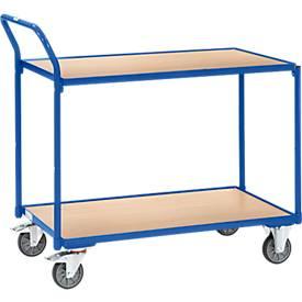 Tischwagen, 2 Etagen, leicht, 850 x 500 mm, blau RAL 5007
