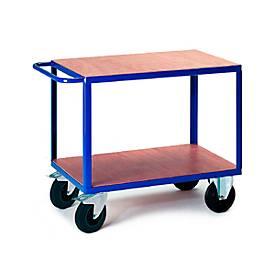 Tischwagen, 2 Ladeflächen, 850 x 500 mm, Tragkraft 500 kg, für Produktion und Werkstatt
