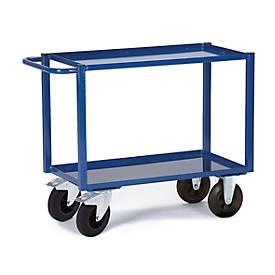 Tischwagen, 2 Ladeflächen/Blechwannen, 995 x 695 mm, Tragkraft 400 kg