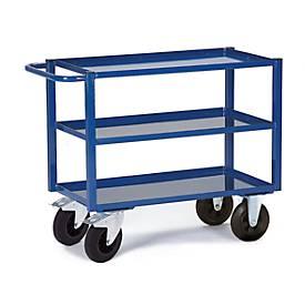 Tischwagen, 3 Ladeflächen/Blechwannen, 995 x 695 mm, Tragkraft 400 kg