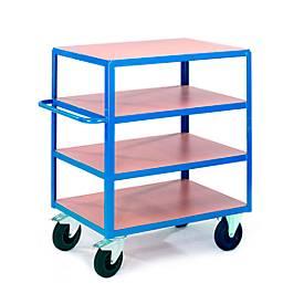 Tischwagen, 4 Ladeflächen, 1200 x 800 mm, Tragkraft 500 kg, für Produktion und Werkstatt
