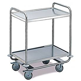 Tischwagen für Labor und Produktion, 2 Etagen, 1000 x 600 mm