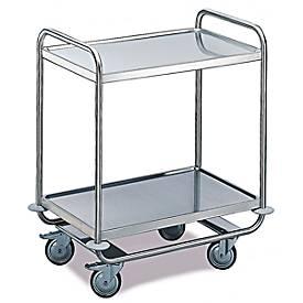 Tischwagen für Labor und Produktion, 2 Etagen, 800 x 500 mm