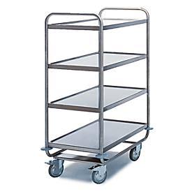 Tischwagen für Labor und Produktion, 4 Etagen, 800 x 500 mm