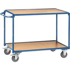 Tischwagen, leicht, 2 Etagen, L 850 x B 500 mm, bis 300 kg, Stahl/Holz, blau