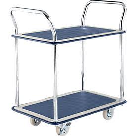 Tischwagen NB-104, 2 Etagen, L 790 x B 480 mm, bis 120 kg, blau, Vollgummi-Bereifung, Stahl verchromt