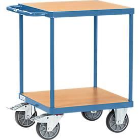 Tischwagen, schwer, 2 Etagen, L 600 x B 600 mm, bis 500 kg, Stahl/Holz, blau