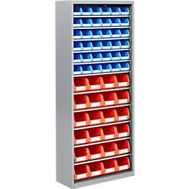 TOP FIX- kast, 11 legborden, 60 bakken, zonder deuren, zilvergrijs