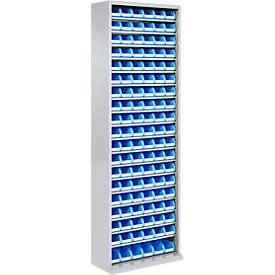 TOP FIX- kast, 18 legborden, 114 bakken, zonder deuren, zilvergrijs