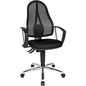 Topstar Bürostuhl Point Net, Permanentkontakt, m. Armlehnen, verstellbarer Netzrücken, schwarz