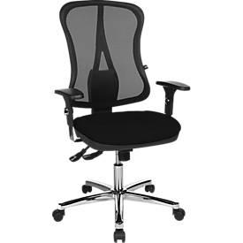 Topstar Hoofdpunt Deluxe bureaustoel, met armleuningen, synchroonmechanisme, voorgevormde zitting, netrugleuning, zwart/aluminiumzilver